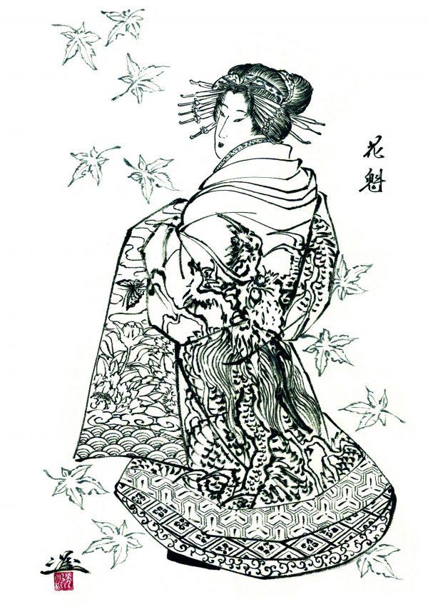 geisha, ryushin, horiyoshi III, irezumi, japanese tattoo